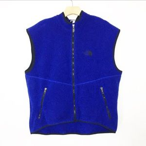 The north face blue full zip fleece vest